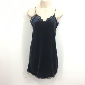 Zara velour lace trim tank top mini dress blue S